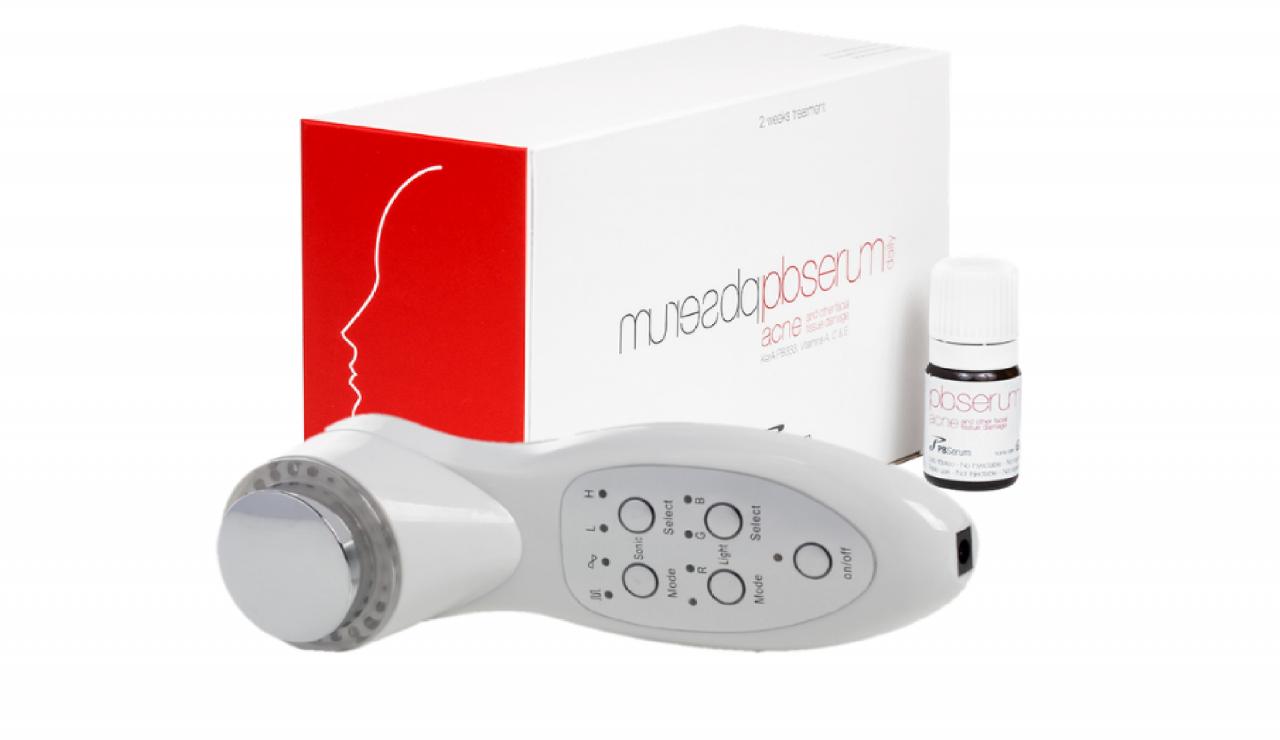 DermaGene Ultrahangos és LED terápiás készülék csomagban PBSerum Acne