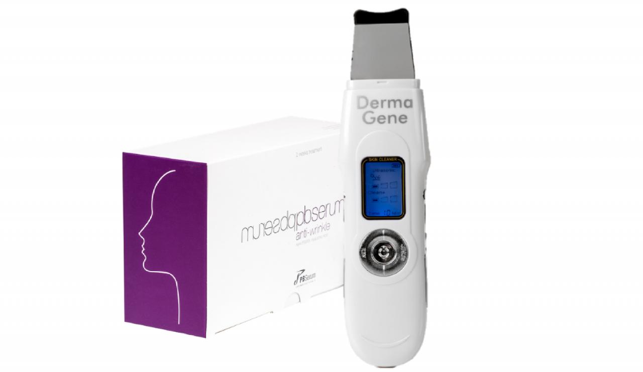 DermaGene 3in1 EMS+ION+Hidroabráziós készülék csomagban PBSerum Anti wrinkle